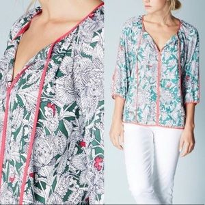 Boden Printed Floral Peasant Top size 6